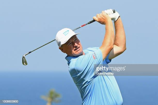 Ernie Els of South Africa plays an approach shot during the Pro Am at the Fiji International Golf Tournament on August 1 2018 in Natadola Fiji