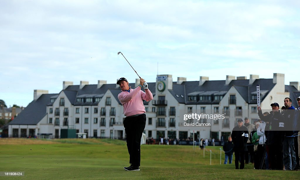 Ernie Els of South Africa plays his second shot at the par 4, first hole during the first round of the 2013 Alfred Dunhill Links Championship on the Championship Course at Carnoustie on September 26, 2013 in Carnoustie, Scotland.
