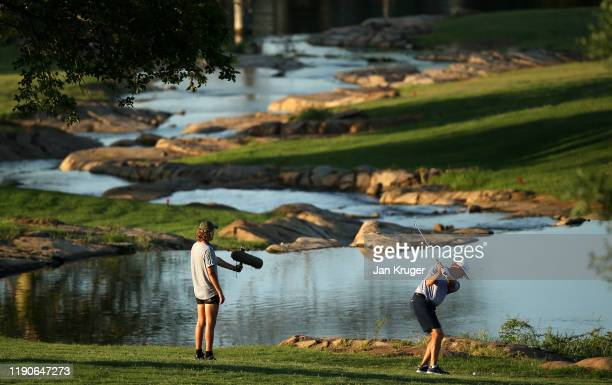 Ernie Els of South Africa plays his second shot on the 18th during round one of the Alfred Dunhill Championship at Leopard Creek Country Golf Club on...