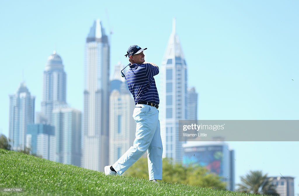 Ernie Els of South Africa plays his second shot on the 6th hole during the third round of the Omega Dubai Desert Classic at the Emirates Golf Club on February 6, 2016 in Dubai, United Arab Emirates.