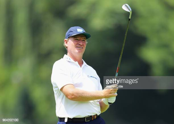 Ernie Els of South Africa plays his second shot on the 7th hole during day two of the BMW South African Open Championship at Glendower Golf Club on...