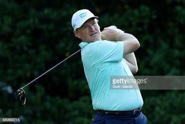 Ernie Els of South Africa plays his shot from the 11th tee during the first round of THE PLAYERS Championship at the Stadium course at TPC Sawgrass...