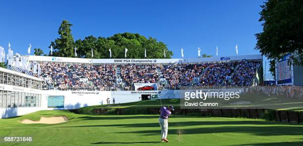 Ernie Els of South Africa plays his third shot on the par 5 18th hole during the second round of the 2017 BMW PGA Championship on the West Course at...