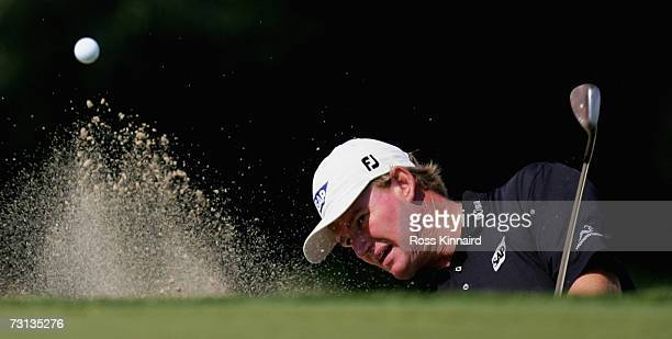 Ernie Els of South Africa plays his third shot on the par five 1st hole during the final round of the Commercial Bank Qatar Masters at Doha Golf Club...