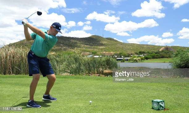 Ernie Els of South Africa plays in the pro am ahead of the Nedbank Golf Challenge hosted by Gary Player at the Gary Player CC on November 12, 2019 in...
