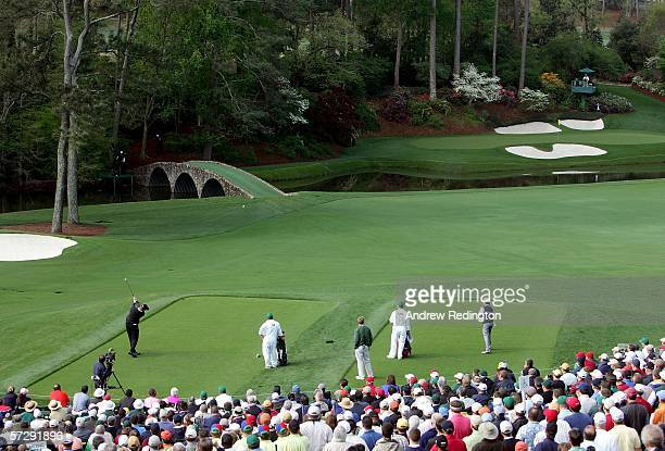 Ernie Els of South Africa plays off the 12th tee during the continuation of the rain delayed third round of The Masters at the Augusta National Golf...
