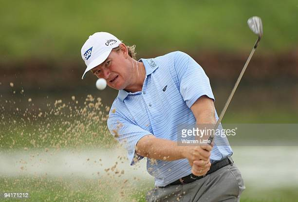 Ernie ELs of South Africa plays out of the 16th greenside bunker during practice before the Alfred Dunhill Championship at Leopard Creek Country Club...