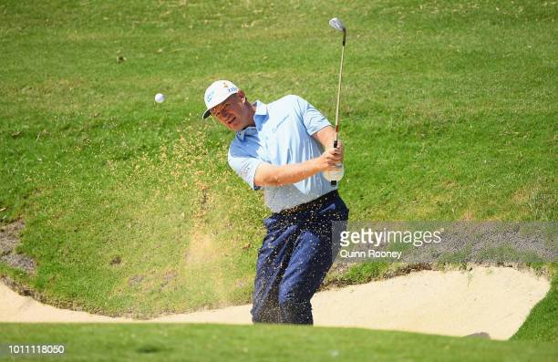 Ernie Els of South Africa plays out of the bunker during Day Four at the Fiji International Golf Tournament on August 5 2018 in Natadola Fiji