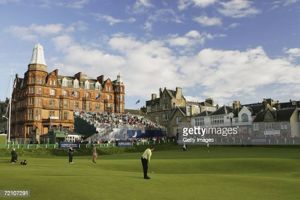 Ernie Els of South Africa plays to the 18th Hole green during the Second Round of The Alfred Dunhill Links Championship at The Old Course on October...