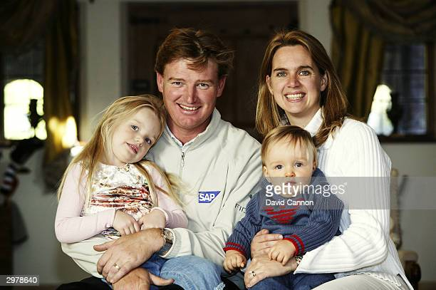 Ernie Els of South Africa poses for a family portrait with wife Liezl daughter Samantha and son Ben at home on October 15 2003 in Wentworth England