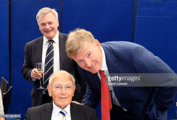 Ernie Els of South Africa poses with Renton Laidlaw of Scotland the former television broadcaster and Chairman and Secretary of the AGW as Ken...