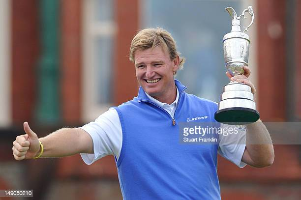 Ernie Els of South Africa poses with the Claret Jug after winning the 141st Open Championship at Royal Lytham St Annes Golf Club on July 22 2012 in...