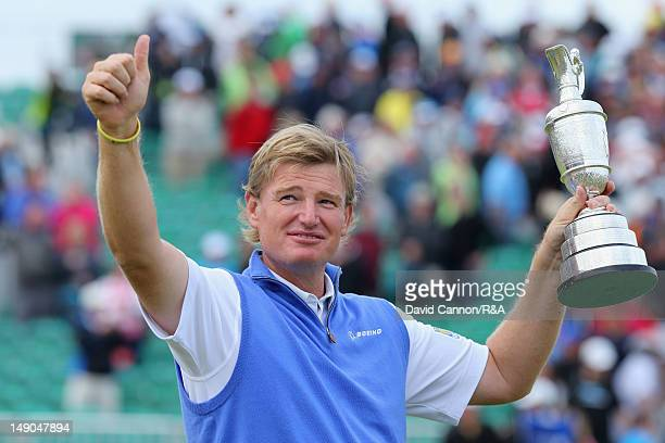 Ernie Els of South Africa poses with the Claret Jug following his victory during the final round of the 141st Open Championship at Royal Lytham & St....