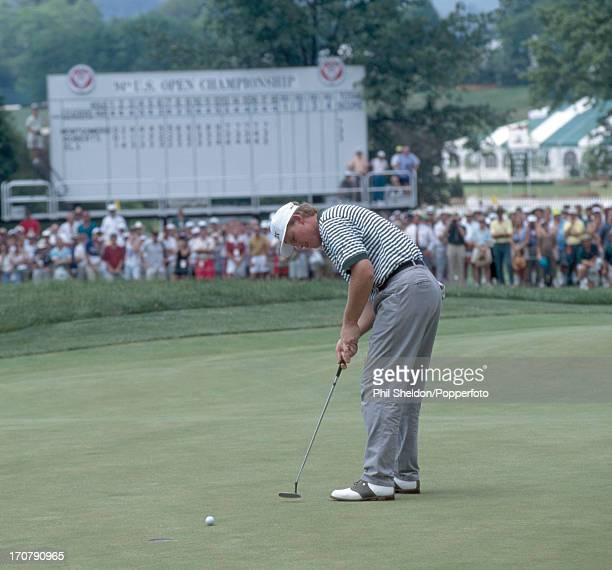 Ernie Els of South Africa putting during the playoff at the US Open Golf Championship held at the Oakmont Golf Club in Pennsylvania on 21st June 1994...