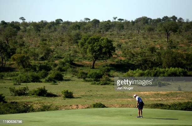 Ernie Els of South Africa putts on the 13th green during Day One of the Alfred Dunhill Championship at Leopard Creek Country Golf Club on November...