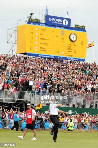 Ernie Els of South Africa reacts to a birdie putt on the 18th green during the final round of the 141st Open Championship at Royal Lytham & St. Annes...