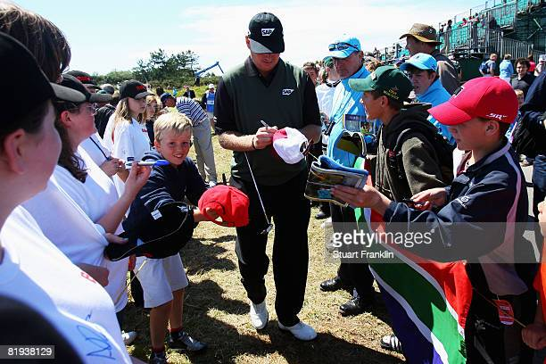 Ernie Els of South Africa signs autographs for fans during the second practice round of the 137th Open Championship on July 15 2008 at Royal Birkdale...