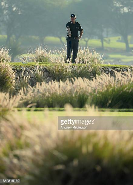 Ernie Els of South Africa stands on the 11th tee during the second round of the Commercial Bank Qatar Masters at Doha Golf Club on January 27 2017 in...