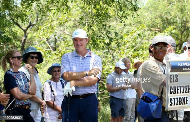 Ernie Els of South Africa takes a rest in the shade on the 2nd hole during Day One of the Alfred Dunhill Championship at Leopard Creek Country Golf...