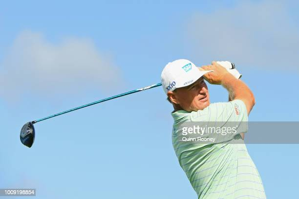 Ernie Els of South Africa tees off during Day One at the Fiji International Golf Tournament on August 2 2018 in Natadola Fiji