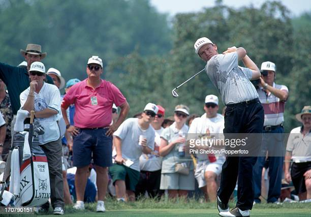 Ernie Els of South Africa tees off during the US Open Golf Championship held at the Oakmont Golf Club in Pennsylvania on 20th June 1994 Els won the...