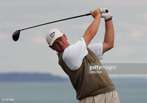 Ernie Els of South Africa tees off from the 16th hole during the practice round of the US PGA Championship at the Whistling Straits Golf Course...