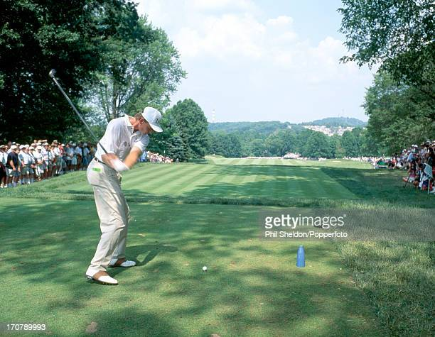 Ernie Els of South Africa tees off on the 10th hole during the US Open Golf Championship held at the Oakmont Golf Club in Pennsylvania on 20th June...