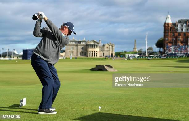 Ernie Els of South Africa tees off on the 18th tee during day one of the 2017 Alfred Dunhill Championship at The Old Course on October 5 2017 in St...