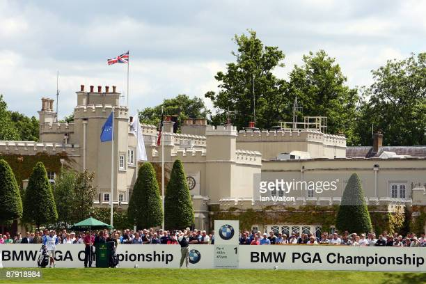 Ernie Els of South Africa tees off on the 1st hole during the Second Round of the BMW PGA Championship at Wentworth on May 22 2009 in Virginia Water...