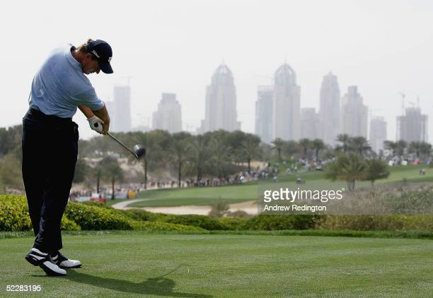 Ernie Els of South Africa tees off on the eighth hole during the final round of the 2005 Dubai Desert Classic on the Majilis Course at the Emirates...