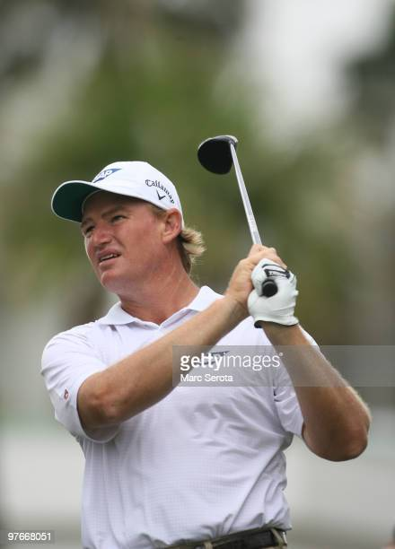 Ernie Els of South Africa tees off on the seventh tee box during round two of the 2010 WGCCA Championship at the TPC Blue Monster at Doral on March...