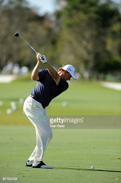 Ernie Els of South Africa tenth green during the final round of the World Golf Championships-CA Championship at Doral Golf Resort and Spa on March...