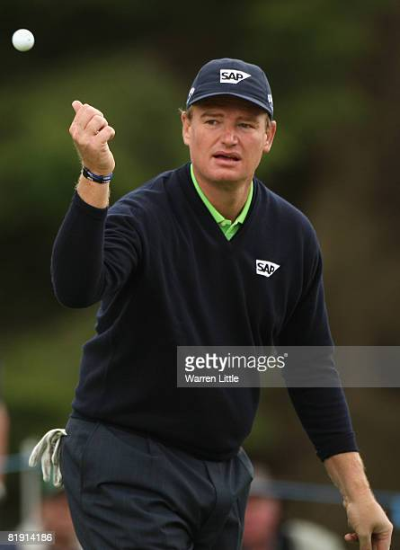 Ernie Els of South Africa tosses his ball on the 6th hole during the Third Round of The Barclays Scottish Open at Loch Lomond Golf Club on July 12,...