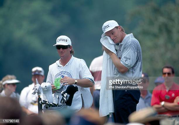 Ernie Els of South Africa towels off during the US Open Golf Championship held at the Oakmont Golf Club in Pennsylvania on 20th June 1994 Els won the...