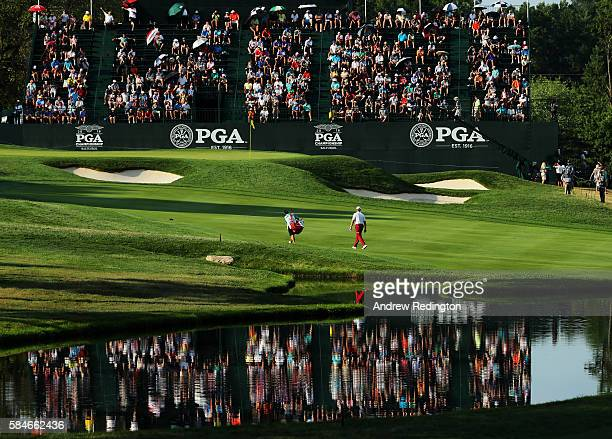 Ernie Els of South Africa walks on the 18th hole during the second round of the 2016 PGA Championship at Baltusrol Golf Club on July 29, 2016 in...