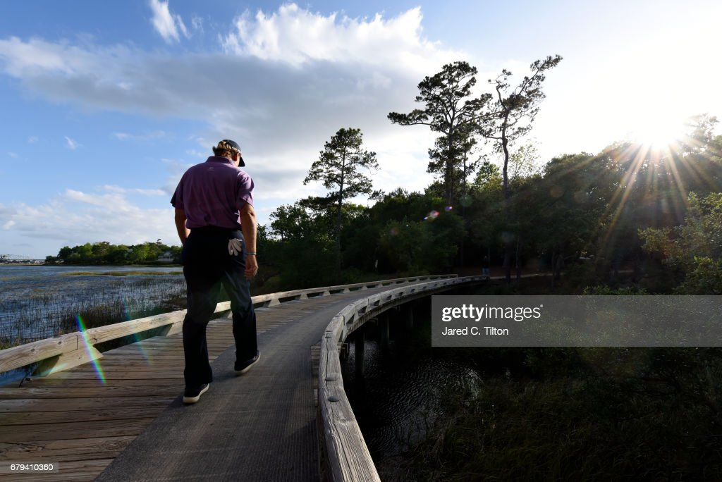 Ernie Els of South Africa walks to the 11th tee during round two of the Wells Fargo Championship at Eagle Point Golf Club on May 5, 2017 in Wilmington, North Carolina.