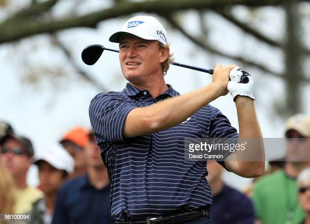 Ernie Els of South Africa watches his tee shot on the third hole during the final round of the Arnold Palmer Invitational presented by Mastercard at...