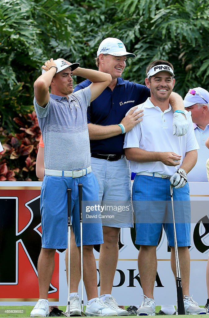 Ernie Els of South Africa with Rickie Fowler and Louis Oosthuizen enjoying watching the other attempts during the $2 Million Kettle One Vodka Challenge on the 120 yards par 3, 19th hole at The Old Palm CC during the Ernie Els Els for Autism pro-am on March 9, 2015 in West Palm Beach, Florida.