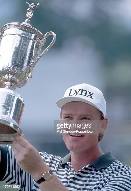 Ernie Els of South Africa with the trophy after winning the US Open Golf Championship held at the Oakmont Golf Club in Pennsylvania on 21st June 1994...