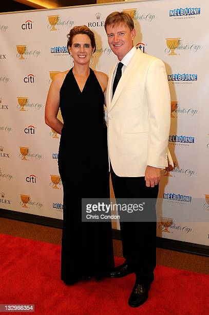 Ernie Els of the International Team and his wife Liezl Els arrive on the red carpet at the Gala Celebration for the 2011 Presidents Cup at the Crown...