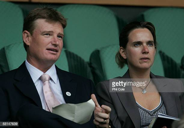 Ernie Els the South African golfer and his wife Liesl watch the tennis on Centre Court during the sixth day of the Wimbledon Lawn Tennis Championship...