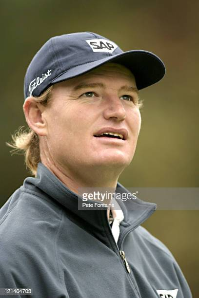 Ernie Els watches an amatuer's shot during ProAm Day at the HSBC World Match Play at Wentworth Golf Club's West Course October 13 2004