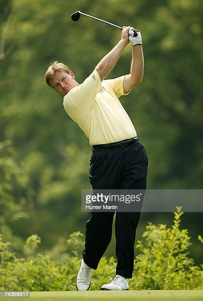Ernie Ernie Els hits his tee shot on the 18th hole during the Morgan Stanley Pro-Am Invitational at The Memorial Tournament May 30, 2007 in Dublin,...
