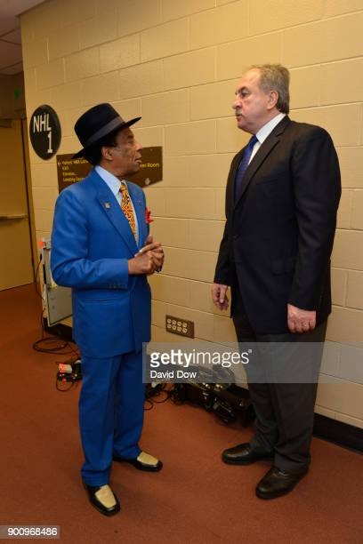 Ernie Grunfeld and Sonny Hill talk before the game between the Washington Wizards and the Philadelphia 76ers on November 29 2017 at the Wells Fargo...