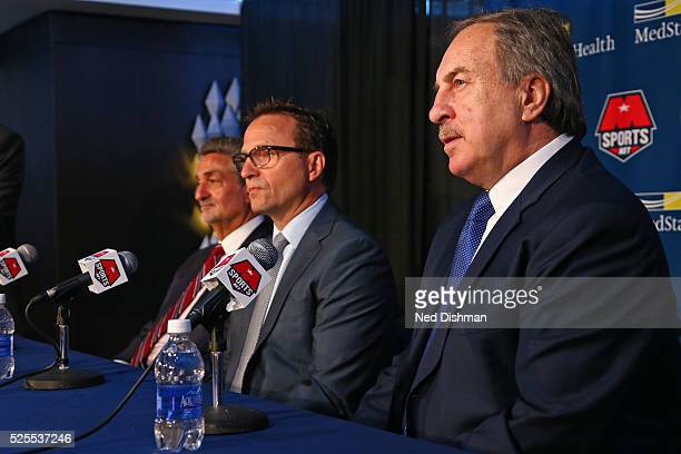 Ernie Grunfeld GM of the Washington Wizards introduces the Washington Wizards new head coach Scott Brooks during a press conference on April 27 2016...