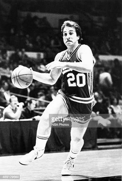Ernie Grunfeld of the Kansas City Kings drives during a game played against the New York Knicks circa 1981 at Kemper Arena in Kansas City Missouri...