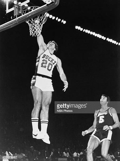 Ernie Grunfeld of the Milwaukee Bucks shoots during game played against the Los Angeles Lakers circa 1979 at the MECCA Arena in Milwaukee Wisconsin...