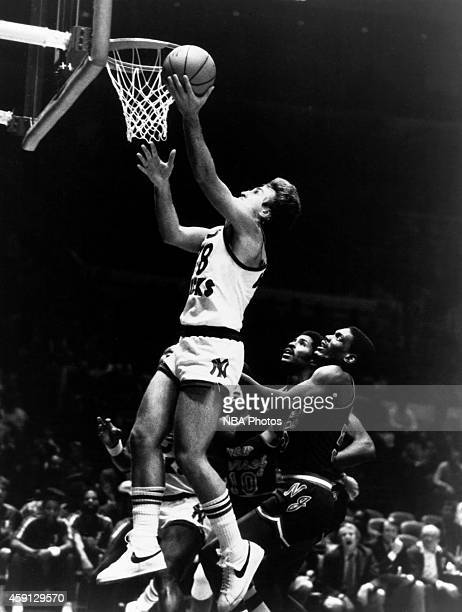 Ernie Grunfeld of the New York Knicks shoots during game played against the New Jersey Nets circa 1984 at Madison Square Garden in New York City NOTE...