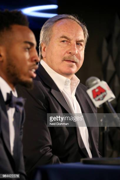 Ernie Grunfeld of the Washington Wizards introduces firstround draft pick Troy Brown Jr during a press conference on June 25 2018 at Capital One...