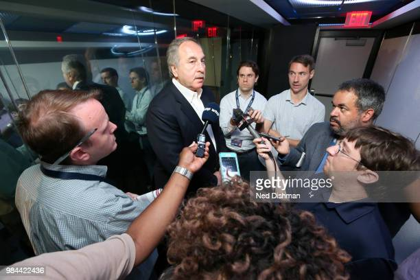 Ernie Grunfeld of the Washington Wizards speaks to the media after a press conference on June 25 2018 at Capital One Arena in Washington DC NOTE TO...